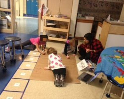 Kindergarten creating a map of our school