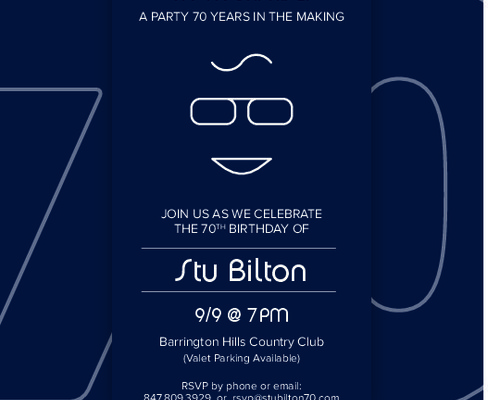 70th Birthday Invite Design